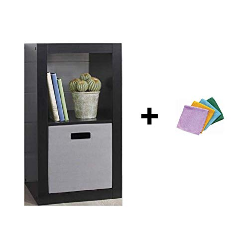 Concord Global Black Garden - Better Homes and Gardens 2-Cube Organizer, Solid Black + Reusable Cloth