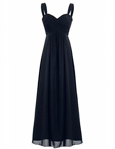 FEESHOW Elegant Women's Chiffon Bridesmaid Long Dress Empire Waist Prom Evening Gowns Black 16 ()