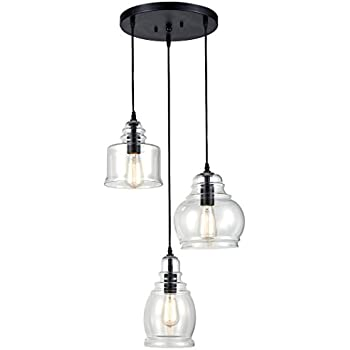 CLAXY Ecopower Vintage Kitchen Linear Island Glass Chandelier Pendant Lighting Fixture-3 Lights  sc 1 st  Amazon.com : vintage pendant lights - azcodes.com
