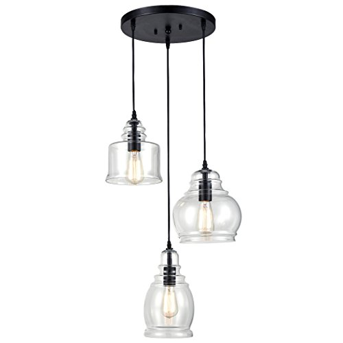 - CLAXY Ecopower Vintage Kitchen Linear Island Glass Chandelier Pendant Lighting Fixture-3 Lights