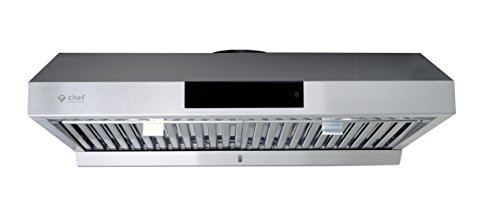 "Price comparison product image Chef 36"" Under Cabinet Range Hood,  Stainless Steel / PS18 / Contemporary Modern Design w / 860 CFM,  Touch Screen w / Digital Clock,  Dishwasher Safe Baffle Filters,  LED Lamps,  3-Way Venting Options"