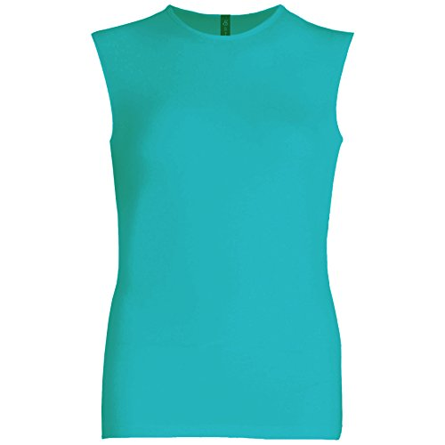 Esteez Womens Sleeveless Fitted Base Layering T-Shirt Turquoise Blue X-Large (Sleeveless Turquoise Top)