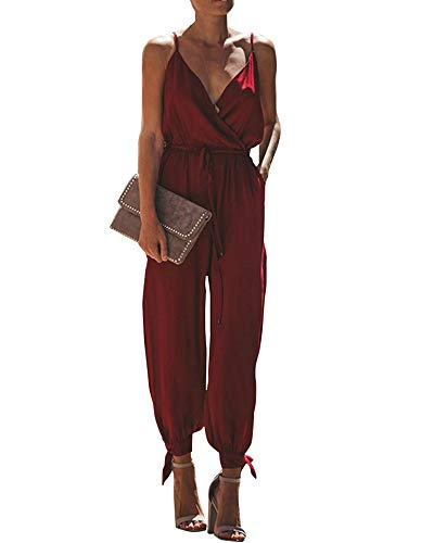 Sofia's Choice Women's Spaghetti Strap V Neck Floral Print Split Beam Foot Pants Jumpsuit Rompers Wine ()