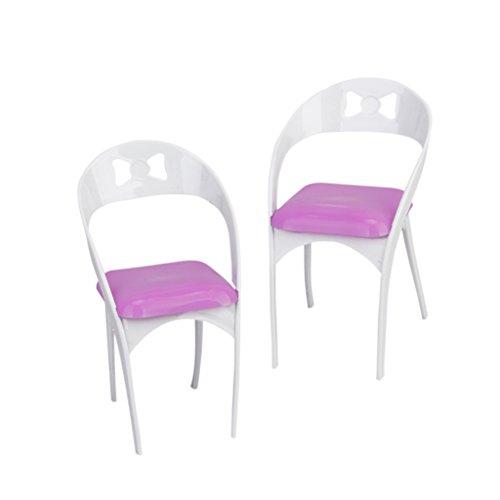 Baoblaze 2pcs Mini Chaises Amovibles Meubles de Poupée Pour la Décor Maison de Poupée Barbie - Blanc et Rose