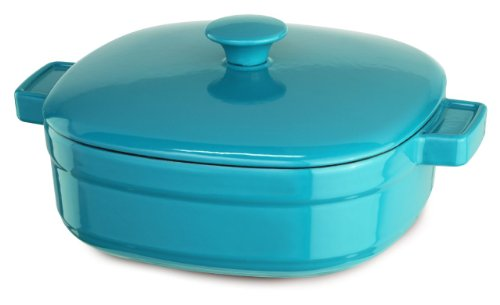 KitchenAid KCLI40CRCC Streamline Cast Iron 4-Quart Casserole Cookware - Curacao Blue
