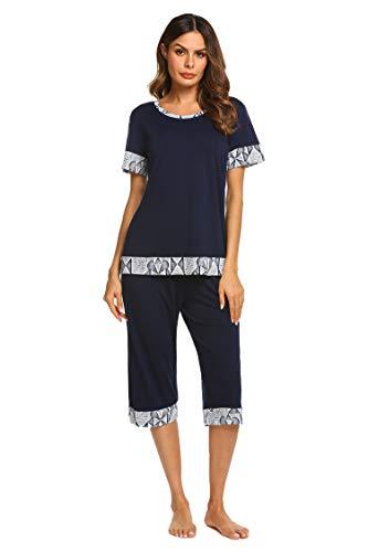 - Hotouch Womens Pajama Set Short Sleeve Top & Capri Pants Sleepwear Pjs Sets Navy Blue l