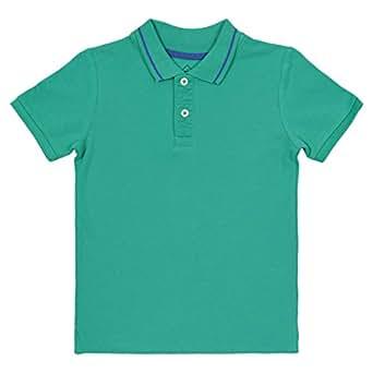 Tex Green Cotton Shirt Neck Polo For Boys