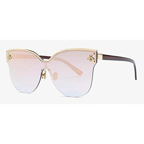 KKXXYJ Rimless Oversized Little Gold Bee Sunglasses Ladies Big Cat Eye Glasses Square ()