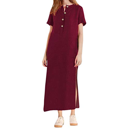 (Sinfu Women Summer Short Sleeve V Neck Button Cotton Linen Loose Straight Dress Casual Side Split Long Maxi Dress Wine)