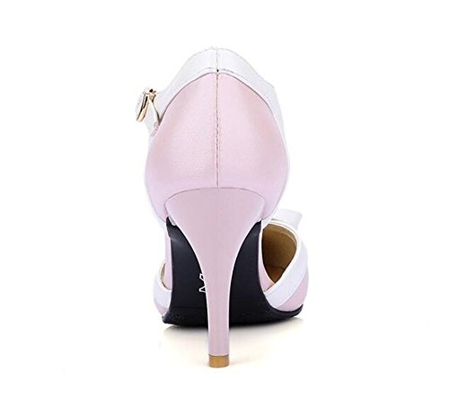 Zapatos Mujer Boca Tacón Pink Superficial Plano Sandalias QXH de Puntiagudo Medio FSUwUH