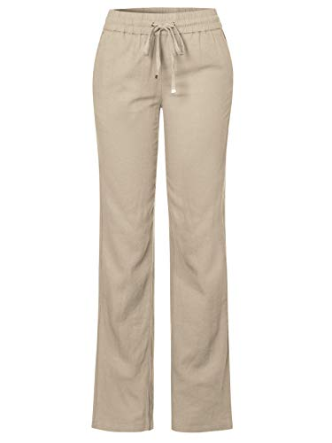 Design by Olivia Women's Comfy Drawstring Elastic Waist Linen Pants with Pocket Taupe 2XL ()