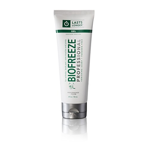 Biofreeze Professional Pain Relieving Gel, Enhanced Relief of Arthritis, Muscle, Joint, Back Pain, NSAID Free Pain Reliever Cream for Sore Muscles, 4 oz. Tube, Original Green Formula, 5% ()