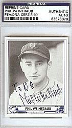 Phil Weintraub Signed 1944 Play Ball Reprint Trading Card #35 New York Giants - PSA/DNA Authentication - Autographed MLB Baseball Cards from Sports Collectibles Online