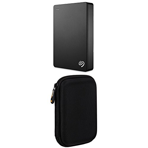 Seagate Backup Plus 4TB Portable External Hard Drive USB 3.0 (Black) STDR4000100 & AmazonBasics External Hard Drive Case bundle