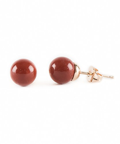 Coral Rose Pearl (Coral Red Pearl Imitation Rose Gold Plated Stud Fashion Jewelry Earrings)