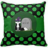 Halloween Black Fox Rip Grave Stone Polka Dots Pillow Case 18