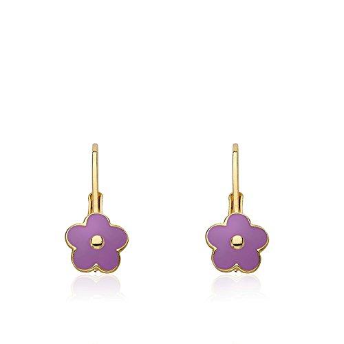 Little Miss Twin Stars Kids Earrings - 14k Gold Plated Lavender (Purple) Frosted Flowers Leverback Girls Earrings-Brass Nickel Free Earrings For Sensitive Ears Hypoallergenic Earrings For Girls - Flower Dangle Leverback Earrings