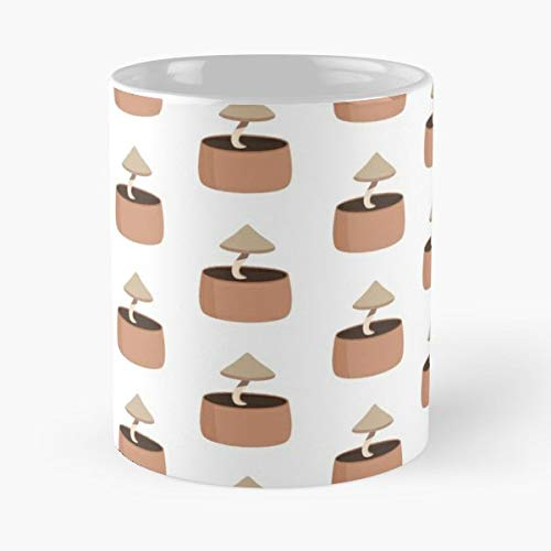 Plants Pot Terracotta Mushroom - Handmade Funny 11oz Mug Best Holidays Gifts For Men Women Friends.