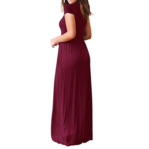 Damen Kleid Huhu833 Damen Sommer OAnsatz Casual Taschen Kurzschluss ...
