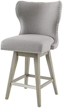 Madison Park Hancock Swivel Counter Height Barstool With Wingback Modern Contemporary Solid Wood, Nail Head Accent, Pub Stool, 27 Seat High, Grey