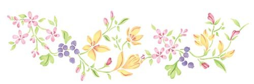 Designer Stencils Blueberry and Floral Border Wall Stencil 2850