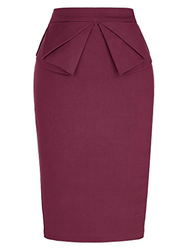 PrettyWorld Vintage Dress Casual Vintage Pencil Skirt Office Wear For Women KL-4 CL454,Cl454-wine Red,X-Large