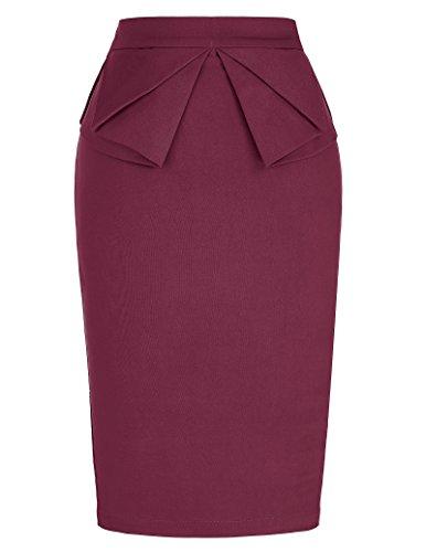 PrettyWorld Vintage Dress Women Plus Size Bodycon Pencil Skirt Wear to Work Wine Red (3X) KL-4 CL454 (Best Shoes For Plus Size)