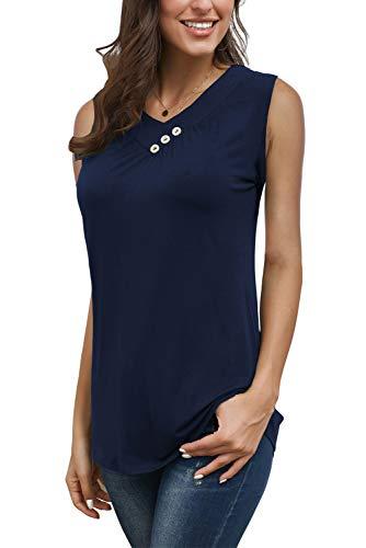 KISSMODA Womens Summer Sleeveless V Neck Shirts Pleats Flowy Tunic Tank Navy Blue Small