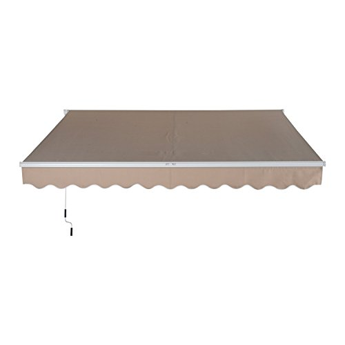 Outsunny 10' x 8' Exterior Manual Window Awning Sun Rain Shade Cover - Beige