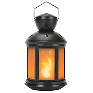 """Decanit 10"""" H Flame Effect Black and White Moroccan Style LED Decorative Candle Lanterns(6 Hours Timer) - Great for Patio, Indoors/Outdoors, Events, Parties and Weddings Black 1pc"""