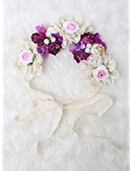[Be gorgeous flowers headband /Rose Crown/Bohemian style (Purple)] (Gold Antler Crown)