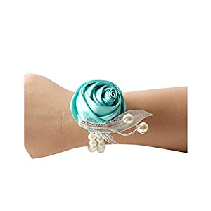 Artificial Rose Wrist Corsage Bracelet Silk Rose Flower Bridesmaid Hand Flowers with Pearl Wedding Party Decoration, show3 27