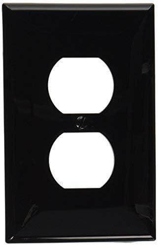 20-Pack Leviton PJ8-E 1-Gang Duplex Receptacle Wallplate Black Midway Size