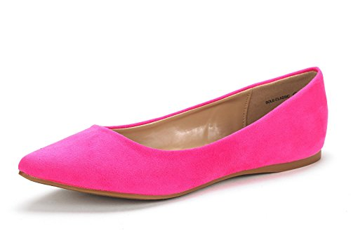 DREAM PAIRS Sole Classic Women's Casual Pointed Toe Ballet Comfort Soft Slip On Flats Shoes Fuchsia Size 6