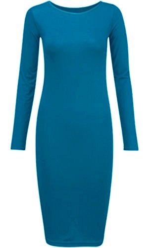 Turquoise Bodycon Dress ® Long Midi Pickle New Womens Sleeve Chocolate HwAqzA