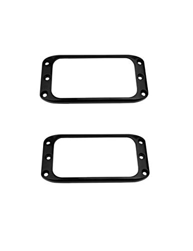 (Guyker 2Pcs Pickup Mounting Rings for Humbucker - Metal Pickups Cover Frame Set Replacement Round Edges for Electric Guitar or Bass (Black))