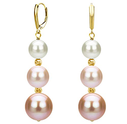 Graduated Freshwater Cultured Multi-pink Pearl and Sparkling Beads Lever-back Earrings in 14k Yellow Gold