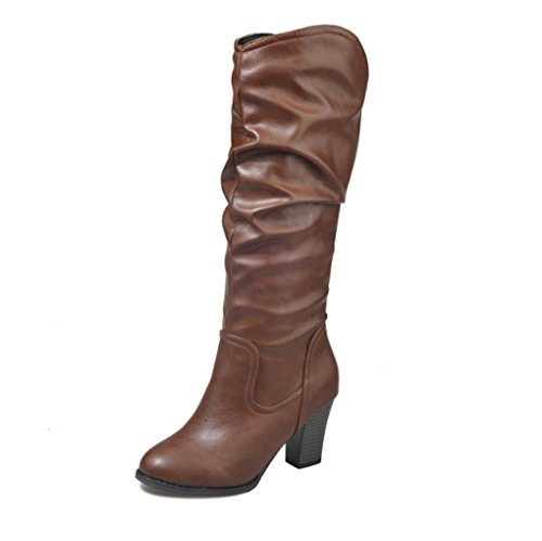XZ Large Size High-Heeled Thick Heel Folds Round Head Boots Female Boots Brown VhnsWEd