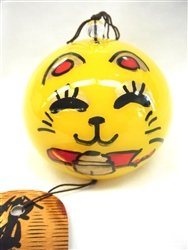 NIHON ICHIBAN Japanese Handmade Glass Wind Chime with Laughing Maneki Neko
