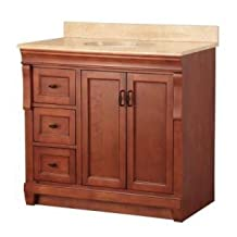 "Foremost NACASEO3122DL Warm Cinnamon Naples 31"" W Vanity with Left Drawers & Top with Stone Effects"