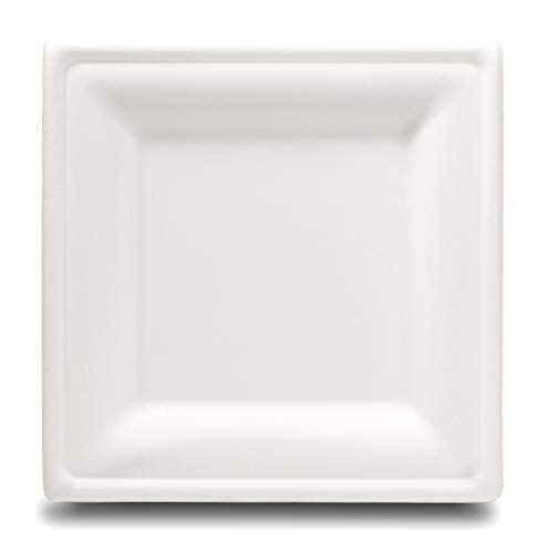 Select Settings [100 COUNT] Compostable Square Dinner Plates (10 Inch) made from bagasse (sugarcane - Medium Square Plate