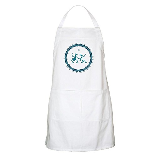 Apron Primitive Dancing Duo Teal - White by Truly Teague