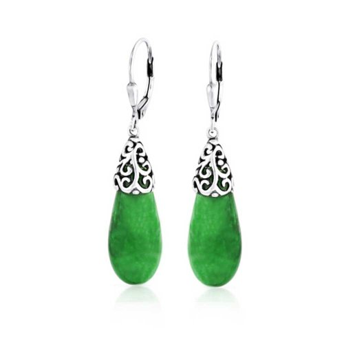 Jade Filigree Ring (Bling Jewelry Green Jade Teardrop Filigree Leverback Drop Earrings 925)