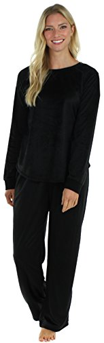 Frankie & Johnny Women's Sleepwear Fleece Long Sleeve Pajama Set Solid Black (FJLFR1142-1011-XL) (Pajama S)