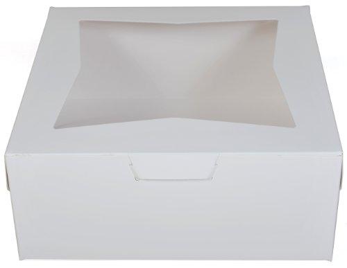 Southern Champion Tray 23073 Paperboard White Lock Corner Window Bakery Box, 12'' Length x 12'' Width x 5'' Height (Case of 100) by Southern Champion Tray (Image #2)