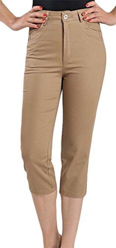 Lutratocro Womens Pure Color Skinny High Waist Stretch Slim Capri Pants Earth Yellow Large (Skinny Stripe Earth)