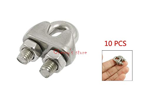Ochoos 10 PCS Stainless Steel Cable Clip Saddle Clamp for 5/32'' 4mm Wire Rope