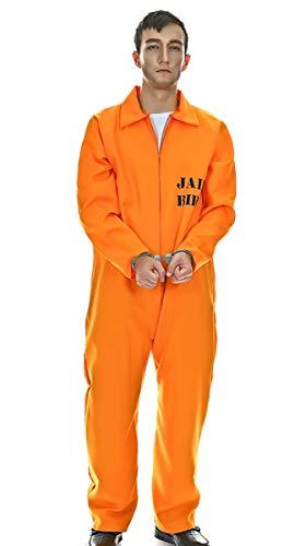 Maxim Party Supplies Men's Prisoner Inmate Adult Costume (Large) - Halloween - Orange Jumpsuit | -