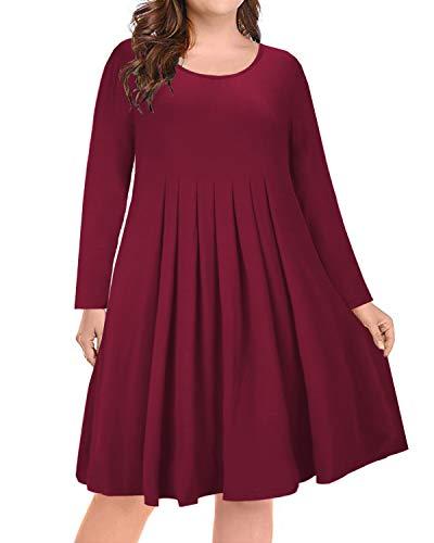ULTRANICE Womens Long Sleeve Plus Size Pleated Loose Swing Casual Dress