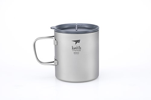 Keith Titanium Ti3356 Double-Wall Mug with Folding Handle and Lid - 20.3 fl oz